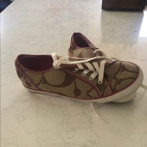 Coach sneakers pink and tan
